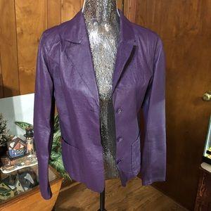 Retro Look Purple Leather Ostrich Print Blazer